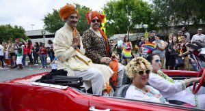 Prince Gohil in the Los Angeles, California, gay pride parade.