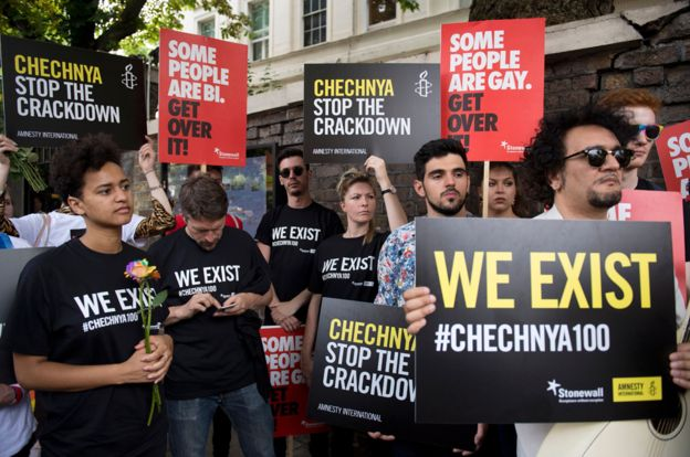 Supporters of LGBTQ Chechens protest outside the Russian embassy in London, 2017.