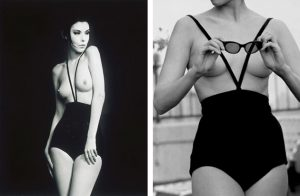 Peggy Moffitt models the monokini, the topless bathing suit designed by Rudi Gernreich in 1968.