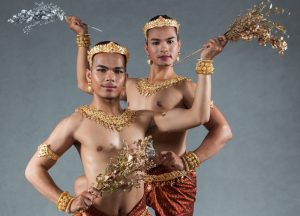 Dancers from the first all-male Khmer classical dance company.