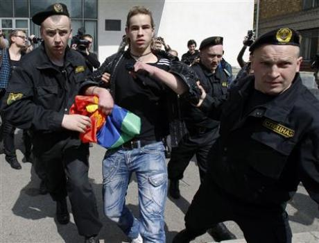 Police detain a gay rights activist in Minsk, Belarus, in 2010.