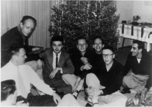 A rare photo of the founding members of the Mattachine Society: Harry Hay (upper left), then (left to right) Konrad Stevens, Dale Jennings, Rudi Gernreich, Stan Witt, Bob Hull, Chuck Rowland (in glasses), Paul Bernard. Photo by James Gruber.