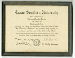 Because of segregation, Jordan could not attend The University of Texas at Austin, and so attended Texas Southern University an historically black institution. She graduated magna cum laude in 1956.