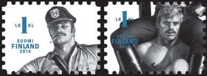 The Finnish postage stamps feature the confident, highly sexualized male images Tom of Finland was known for.