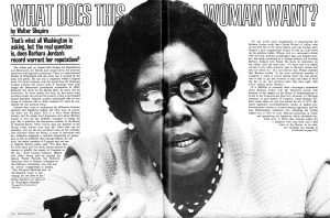 Barbara Jordan, the first black woman elected to Congress from the South, at the height of her Congressional career, 1976.