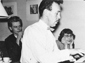 Touko Laaksonen, aka Tom of Finland, plays the piano. His partner Veli Makinen and his sister Kaija are seen in the background. Late 1950s.