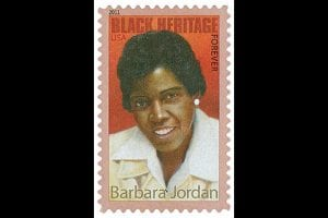 The Barbara Jordan forever stamp was released by the United States Postal Service, the 34th stamp in the Black Heritage series.