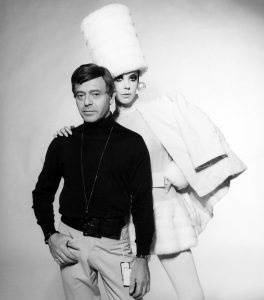 Rudi Gernreich and Peggy Moffitt, as photographed by William Claxton, 1968.