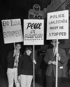 Demonstrators take to the streets in Silver Lake, a neighborhood in Los Angeles, California, in 1967.