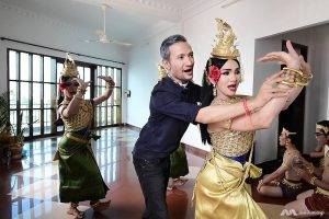 Prumsodun Ok instructs his dancers in the fine points of Khmer classical dance.