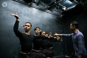 Dancers of the gay Khmer dance troupe take instruction from Prumsodun Ok.