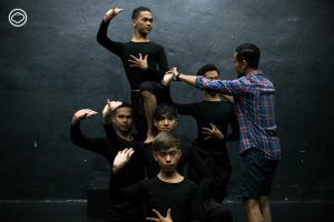 Dancers rehearse the difficult gestures of Khmer classical dance.