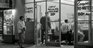 Cooper Donuts, in Los Angeles, California, as it appeared in the 1950s.