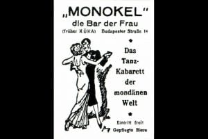 "An advertisement for the ""Monokel,"" a lesbian bar."