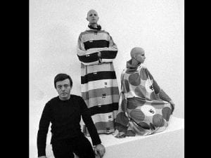 Gernreich with models wearing his innovative unisex designs.